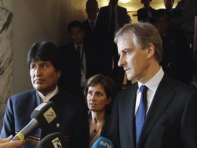 Hanne og Perus president Ollanta Humallas med Jonas Gahr Støre